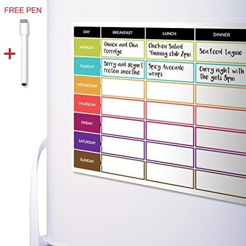 CKB Ltd Meal Diet Planner | Food Prep Nutrition Fitness Magnetic Refrigerator Board With Pen A3 Dry Wipe Magnet Whiteboard Kitchen Weekly Daily Ideal For Planning Family Meals Bodybuilding And Dieting