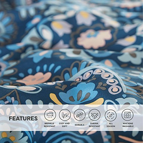 Bed In a purse Queen Comforter Set with Sheets feat Two Side budgets Cara 9 Piece All Season Bedding Sets Queen Microfiber Printed Blue Medallion