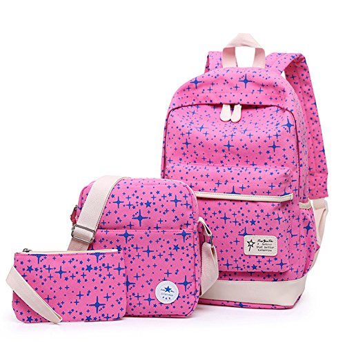 3Pcs Kid's Backpack Girls' and Boys' School Bag Bling Bling Star Print Backpack (Red)]()