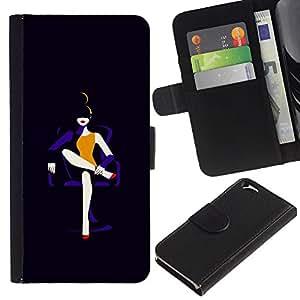 KLONGSHOP // Tirón de la caja Cartera de cuero con ranuras para tarjetas - Señora Negro Moda Minimalista - Apple Iphone 6 //