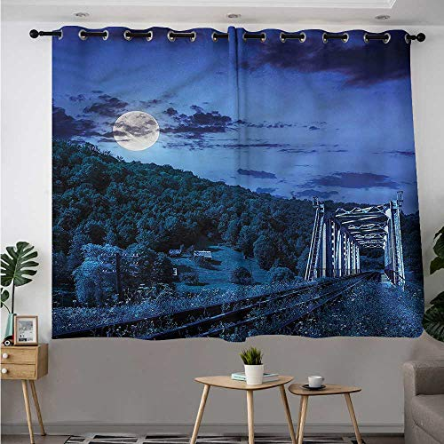 Fbdace Landscape Blackout Curtain Railroad Bridge Mountain Insulated with Grommet Curtains for Bedroom W 55