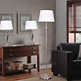 "Catalina Lighting 18078-001 Transitional 3-Piece Set with One Floor Two Table Lamps, 59""and 24"", Brushed Metal Nickel Finishes and White Shades, Without Bulb"