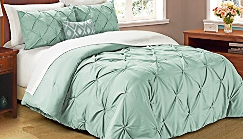 Cathay Home Oasis PinTuck Comforter Set, Full/Queen, Misty Blue
