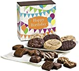 Fairytale Brownies Birthday Cookie & Magic Morsel Combo Gourmet Food Gift Basket Chocolate Box - 1.5 Inch x 1.5 Inch Bite-Size Brownies and 3.25 Inch Cookies - 18 Pieces