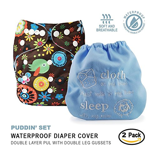 Embroidered Insert - Baby Tooshy Cloth Diaper Covers with DOUBLE Gussets. Waterproof, Adjustable & Reusable. One Size for Prefolds/ Flats/ Inserts. Set has 1 Embroidered
