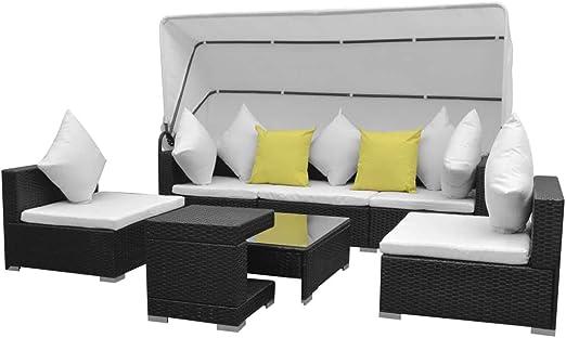 Tuduo Juego de sofás de jardín con Techo 23 Unidades polirratán Marrón diseño Sencillo y Elegante, Robusto y Estable Juego de Muebles de jardín Set Muebles Exterior Muebles para Exteriores: Amazon.es: Jardín