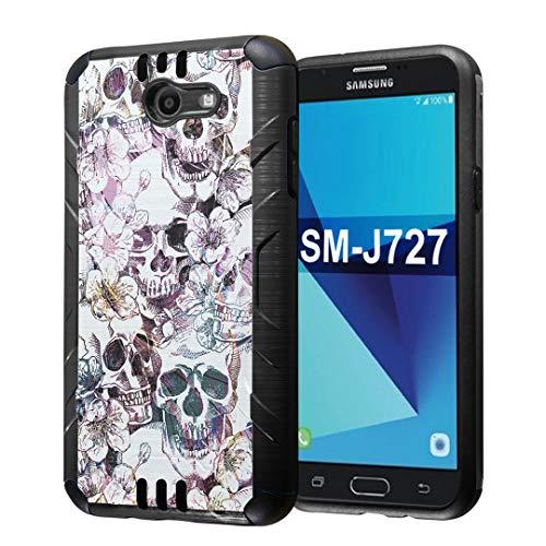 Capsule Case Compatible with Samsung Galaxy J7 Prime, J7 Perx, J7 Sky Pro, J7 V, Galaxy Halo, Galaxy J7 SM-J727 (Year 2017) [Dual Layer Slim Defender Case Black] - (Messy -