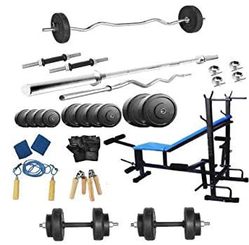 9b54e9ad848 Buy Body Maxx 100 Kg Home Gym Set With 8 In 1 Bench Press With 4 Rods Online  at Low Prices in India - Amazon.in