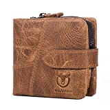 BULL CAPTAIN Men Wallet With Detachable Coin Pocket Magnetic Button RFID Blocking Short Cowhide Leather Vintage Bifold Wallet Brown QB-01 (Brown)