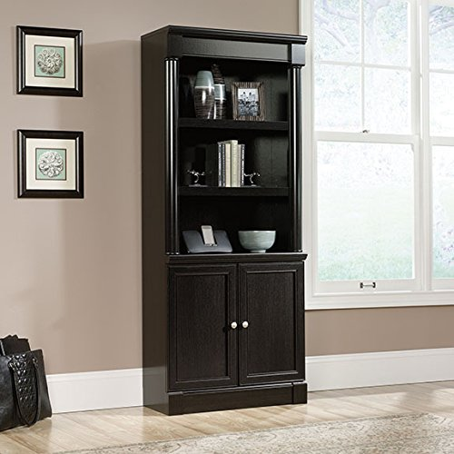 Sauder 416515 Bookcases, Furniture Palladia Library with Doors - Bookcase Shelves Library