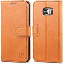 SHIELDON Galaxy S7 Case, Genuine Leather Wallet Case Premium Slim [Magnetic Flap] Flip Cover with Stand & Credit Card Slot for Samsung Galaxy S7 Devices (ONLY), Brown