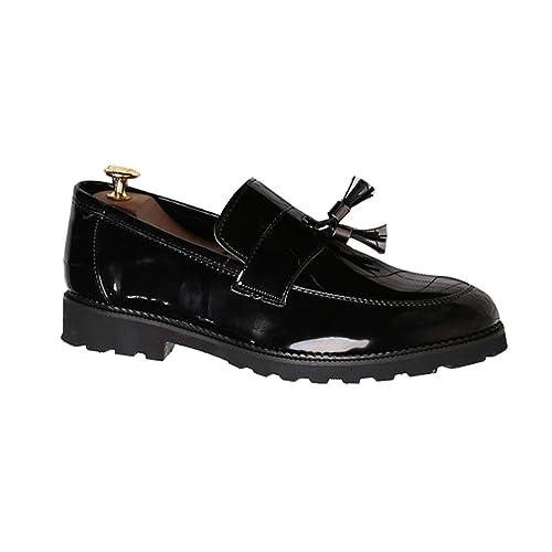 Zapatos de la Boda de los Hombres de Charol Negro Slip-on Transpirable Mocasines de Negocios Oxfords Casuales: Amazon.es: Zapatos y complementos