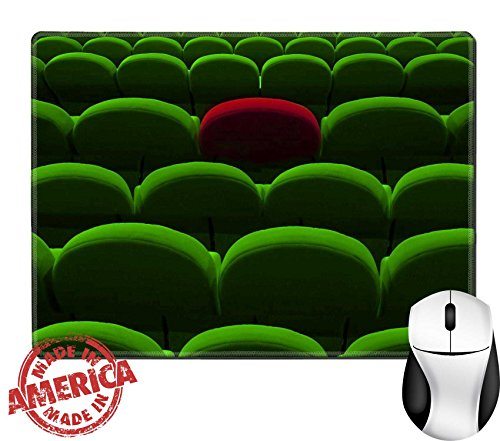"Luxlady Natural Rubber Mouse Pad/Mat with Stitched Edges 9.8"" x 7.9"" green cinema or theater empty seats with red one IMAGE 23320472 (Cinemas Thea)"