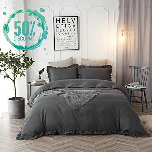 Hyprest Ruffled Duvet Cover Set Twin Kids Grey Farmhouse Solid Color Vintage Bedding Set with Exquisite Flouncing Blush Quilt Cover with Zipper, 3 Pieces 1 Duvet Cover 2 Shams Dark Grey