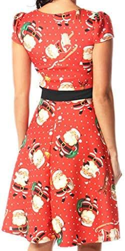 Women O-Neck Cat Christmas Hat Printed Christmas Sleeveless Dress