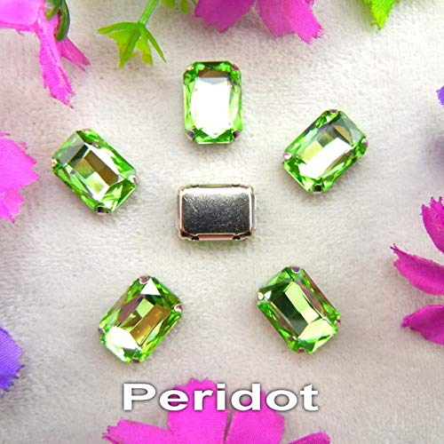 Pukido Glass Crystal Silver Claw Settings 7 Sizes Nice Colors Mix Rectangle Shape Sew on Rhinestone Beads Clothes Shoes DIY Trim - (Color: A14 Peridot, Size: 10x14mm 20pcs) ()