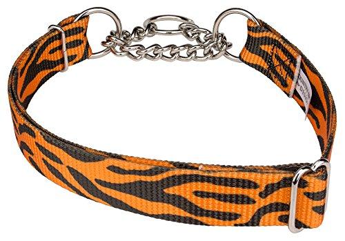 Country Brook Design Orange Tiger Stripe Half Check Dog Collar - Large