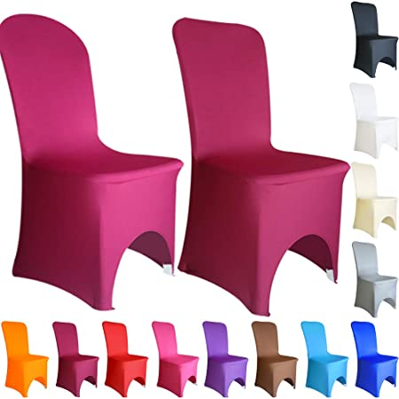 Adaptable 1pcs Cheap White Flat Arched Front Covers Spandex Lycra Chair Cover Wedding Party Home Textile