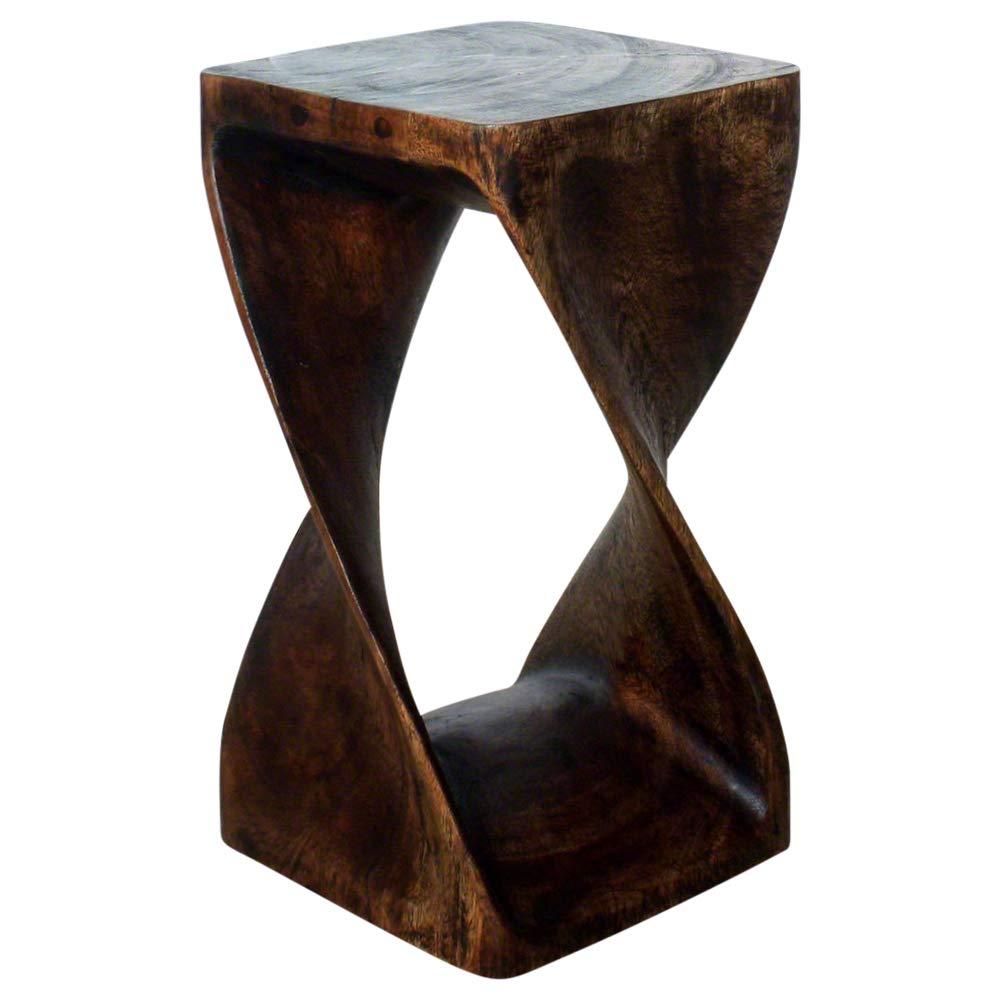 Haussmann Original Wood Twist Stool 10 x 10 x 18 in High Livos Mocha Oil