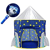 Yoobe Rocket Ship Play Tent - with BOUNS Space Torch Projector Indoor/Outdoor Children Playhouse …