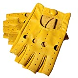 Gours Women's Genuine Leather Gloves Fingerless Motorcycle Style Driving Yellow (Large, Yellow)