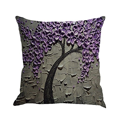 MHB Oil Painting Black Large Tree and Purple Flower Cotton Linen Throw Pillow Covers 15% Cotton and 85% Polyester Pillowcase 18 x18 Inch ()