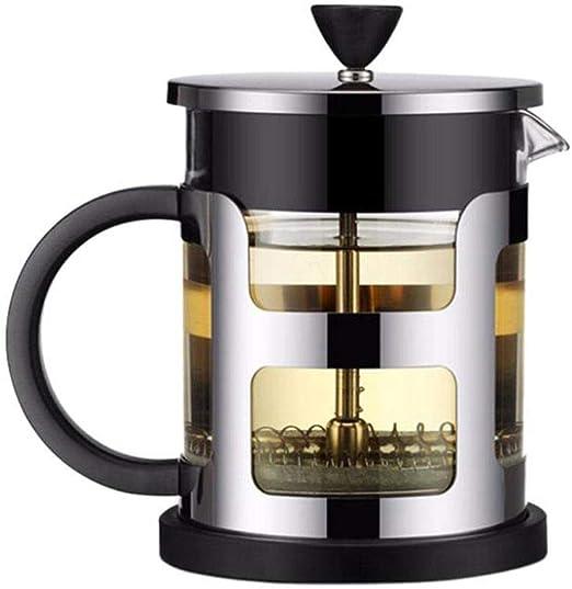 Cafetera de acero inoxidable Cafetera Tetera de vidrio con colador ...