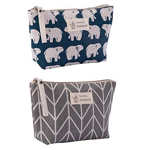 Canvas Large Makeup Bag Pouch Purse Coin Bag Cosmetic Organizer Multifunctional Handmade Cloth Bag for Women (21X13cm/ 8.27X5.12 Inch) (Arrow + Polar Bear)