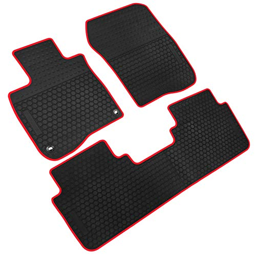 iallauto All Weather Floor Liners Custom Fit Honda CR-V CRV 5th 2017 2018 2019 Heavy Duty Rubber Car Mats Vehicle Carpet Odorless-Black Red