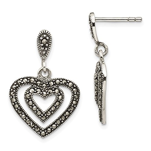 Sterling Silver Simulated Marcasite Heart Dangle Post Earrings (Approx. Measurements 23mm x 16mm)
