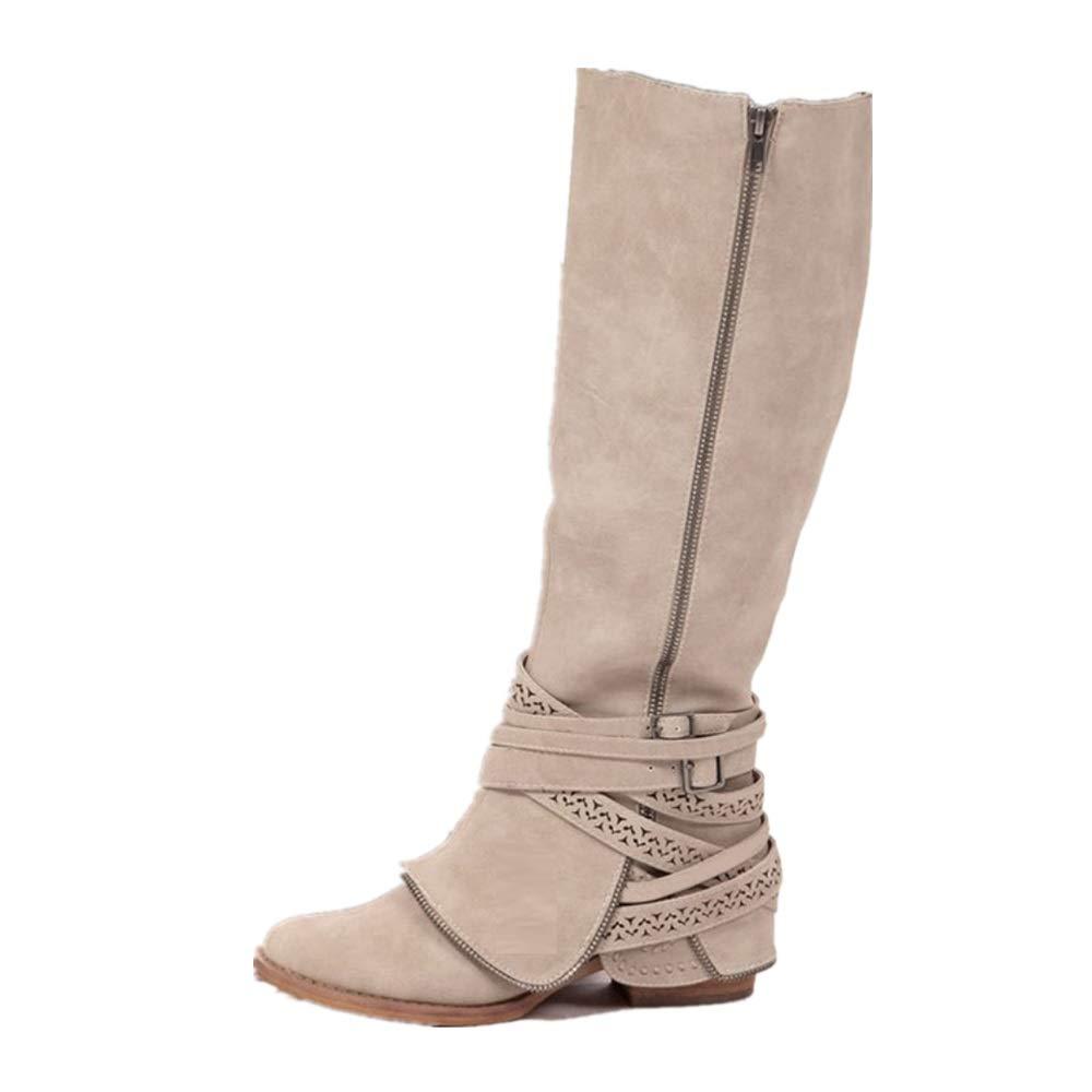 SHANGWU Frauen Damen Biker Kalb Stiefel/Casual Stiefel Lange Stiefel Lace Up Herbst Winter Flachgriff Sohle Armee Kampfstiefel Größe UK 3 4 5 6 7 8