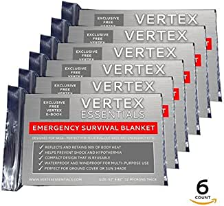 """Emergency Blanket (6-Pack), 52"""" x 82"""". Designed for NASA with up to 90% Heat Retention. Waterproof, Mylar Thermal Blankets for Backpacking, First Aid Kit, Bug Out Bag"""