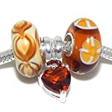 "Solid 925 Sterling Silver Set of 3 ""Brown Flowers/Beige/Dangling Brown Crystal Heart"" Glass Charm Bead for European Snake Chain Bracelets"