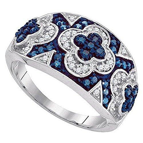 0.50 Carat (ctw) 10K White Gold Round Cut White & Blue Diamond Micro Pave Right Hand Fashion Ring 1/2 CT
