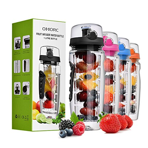 OMorc 32 OZ Sport Fruit Infuser Water Bottle, Flip Top Lid & Dual Anti-slip Grips, BPA Free Infuser Water Bottle, Free Recipes and A Cleaning Brush Gifts, Ideal for Your (Free Water Bottle)