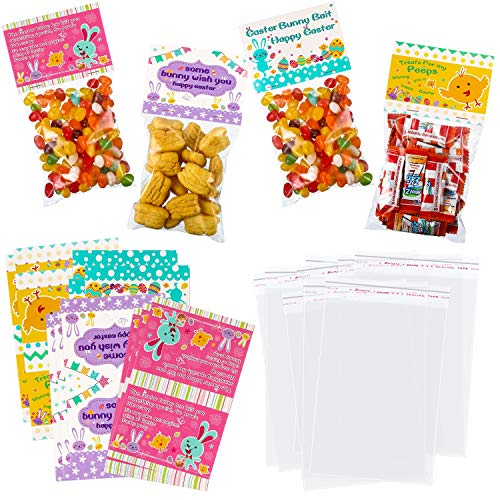 Chuangdi 48 Count Easter Day Treat Bags Easter Cello Bag with Easter Bag Topper 4 Styles for Easter Snack Easter Party Easter Cellophane Bags Treats Bag Kit Party Favor]()