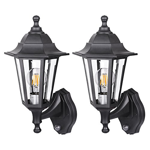 SPECILITE Motion Sensor LED Porch Light Outdoor – Special Handling Anti-Corrosion Durable Plastic Material, Waterproof Exterior Wall Security Light Fixtures for Yard, Garage – 2 Pack Wall Lanterns