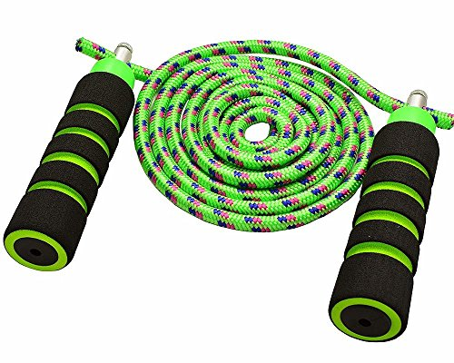 Nylon Double Handle - Anna's Rainbow Double Dutch Jump Rope - 14ft Long Skipping Rope for Indoor/Outdoor/Playground - Durable Adjustable 8mm Nylon Cord - Exercise Toy with Lightweight Foam Handles