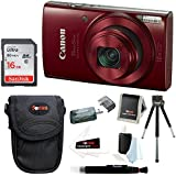 Canon PowerShot ELPH 190 IS 20 MP Digital Camera (Red) w/16GB Accessory Bundle