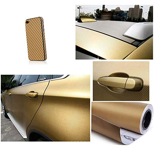 30CM X 1.27Meter 3D Gold Carbon Fiber Vinyl Car DIY Wrap Sheet Roll Film Sticker Decal Orange