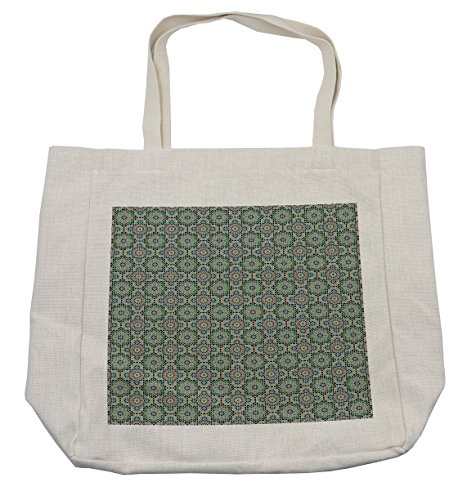 Lunarable Arabian Shopping Bag, Old Design Traditions with Geometric Details Traditional Star Ceramic Art Mosaic, Eco-Friendly Reusable Bag for Groceries Beach Travel School & More, Cream by Lunarable