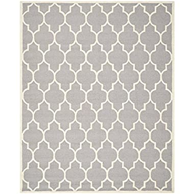 Safavieh Cambridge Collection CAM134D Handmade Silver and Ivory Wool Area Rug, 8 feet by 10 feet (8' x 10')