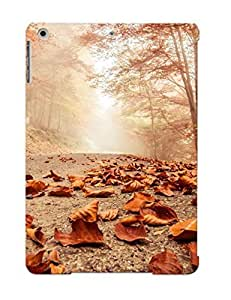 Crazinesswith Durable Defender Case For Ipad Air Tpu Cover(rusty Leaves On The Forest Road) Best Gift Choice