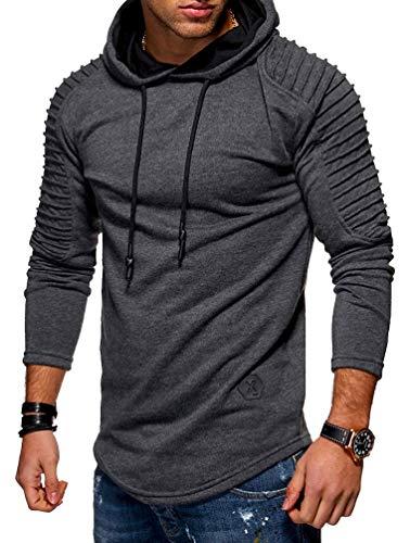 Nicetage Hoodies for Men Fashion Men's Pleats Slim Fit Raglan Long Sleeve Hooded Top Solid Pullover (HS80-Man Dark Gray XL) (Hooded Sweater Drawstring)