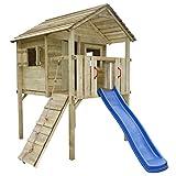 vidaXL Wooden Playhouse with Slide Ladder Garden Outdoor Child Kids Fun 360x255x295 cm