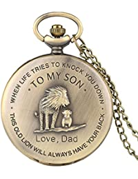 "Retro Pocket Watch,""to My Son, Love Dad"" Cartoon Lion King Pattern Quartz Full Hunter Pocket Watch with Chain Personalized Watch Gift"