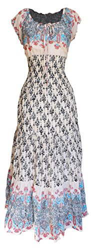 Peach Couture Gypsy Boho Cap Sleeves Smocked Waist Tiered Renaissance Maxi Dress (Small, Boho Cream)