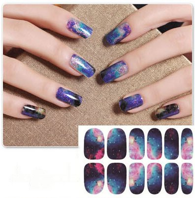 Nail Art Stickers Full Wrap Space Design-QJ02 Nail Sticker Tattoo - - Space Wrap