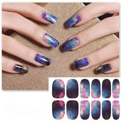 Nail Art Stickers Full Wrap Space Design-QJ02 Nail Sticker Tattoo - - Wrap Space