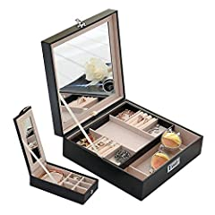 This Combination Lock compact jewelry case with Mirror will help you to keep your jewelry and small things in good order with its divided slots. It is a good gift for mother, daughter, girls and women. Perfect for Birthdays, Christmas ...